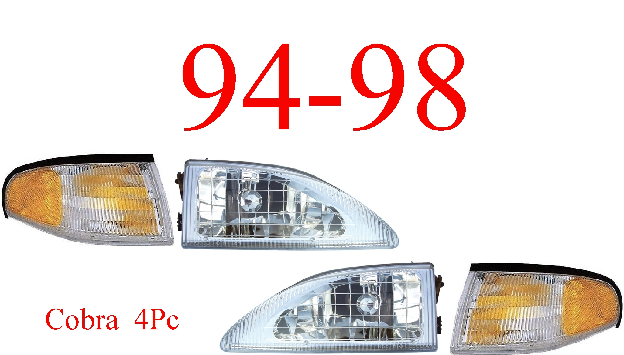 94-98 Mustang Cobra 4Pc Head Light & Park Light Kit